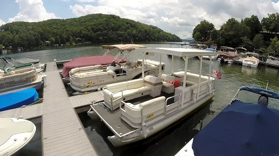 Lake Lure, Carolina del Norte: A few of our pontoon boats - Readily available for rental!