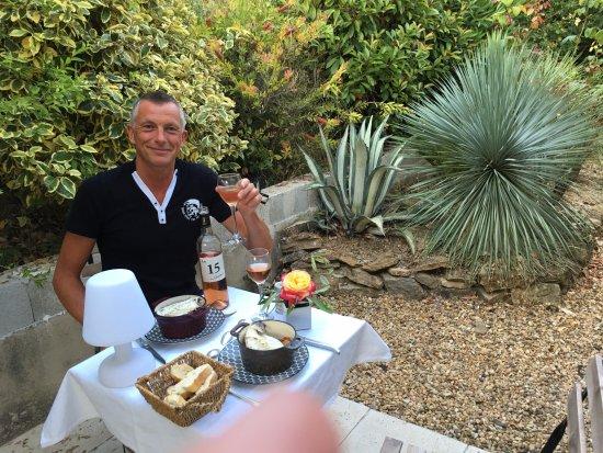Le Clos de la Chevre Sud: Dinner on our private terrace