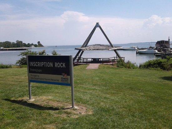 Kelleys Island, OH: Inscription Rock from the sidewalk area of Lakeshore Dr. Kelley Island OH