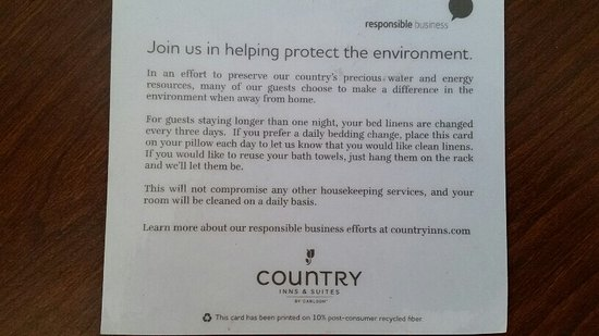 Country Inn & Suites by Radisson, Grand Rapids Airport, MI: Hotels So called Environmental efforts