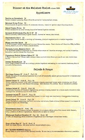 Malahat, Canada: Dinner Menu front page