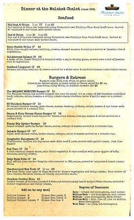 Malahat, Canadá: Dinner Menu back page
