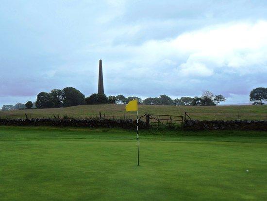 Bishopton, UK: War Memorial seen from 4th Green