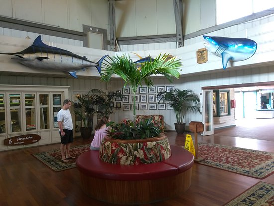 Kona Inn Restaurant: Lobby area has done great trophy mounted catches and outdoor seating is the best with ocean view