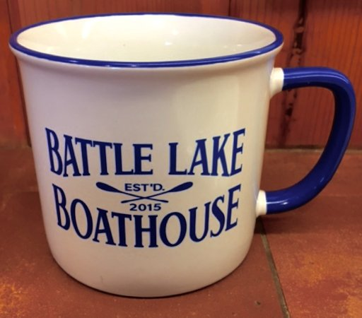Our new Battle Lake Boathouse Coffee Mugs - Cabin Worthy and Sturdy Too!