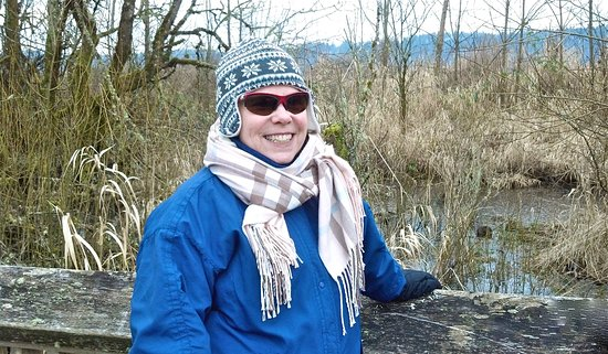Olympia, WA: Anita pauses during a hike in winter at the refuge