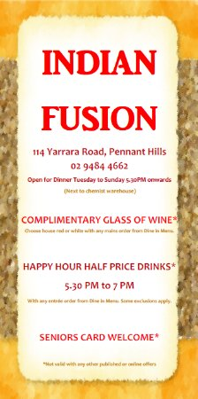 Pennant Hills, Australia: Happy Hour and Complimentary Wine