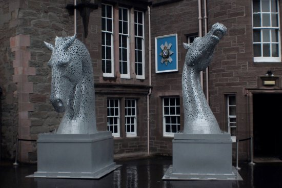 Perth, UK: Scale models of the Kelpies at the Black Watch Museum