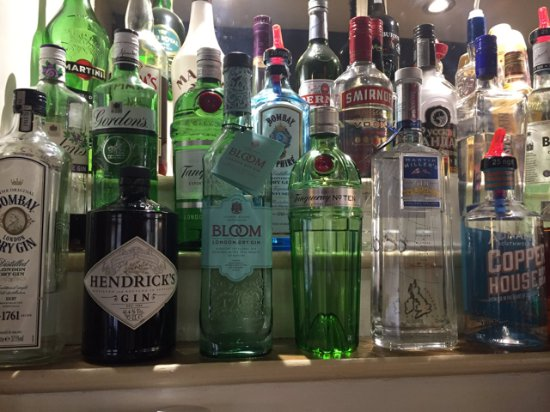 Great Bardfield, UK: Our Gin selection (in amongst a few other spirits)