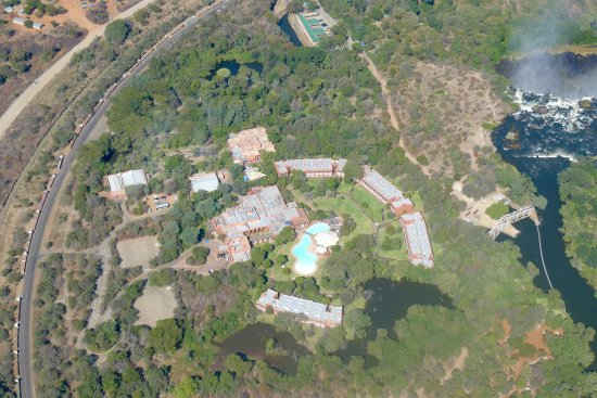 AVANI Victoria Falls Resort: View of hotel and falls from helicopter