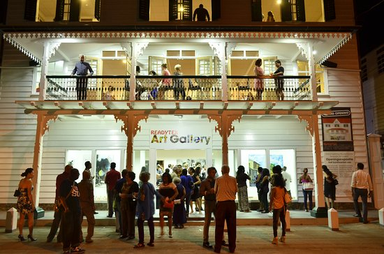 Paramaribo, Suriname: Opening night reception at Readytex Art Gallery