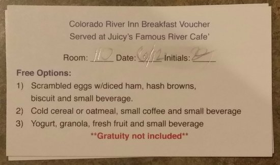 Needles, CA: Breakfast voucher offerings at restaurant next door