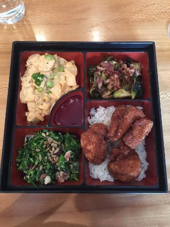 Winona Lake, IN: Panko crusted chicken, brussels sprouts, potato salad, broccolini salad