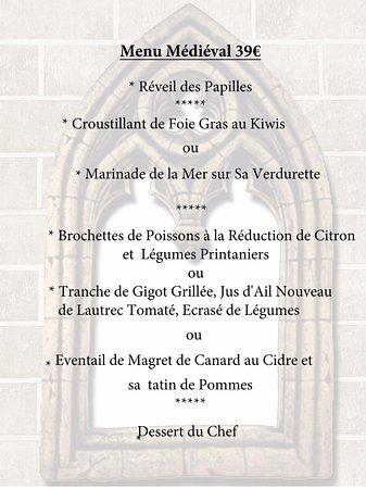 Le Medieval : nouveau menu