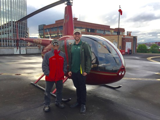 Hillsboro, OR: Oregon Helicopters Crew, Jeremy and the pilot, Michael.