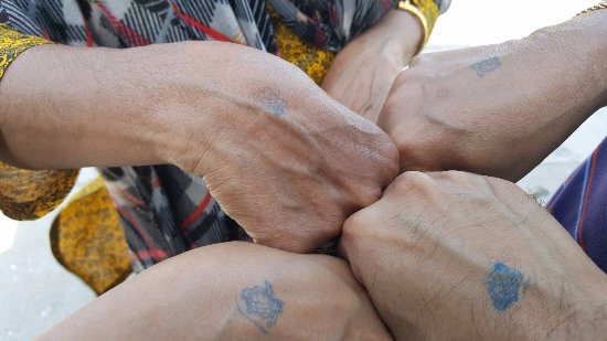 Bob Hall Pier: Tiny Turtle tattoos stamped before entering the Pier!