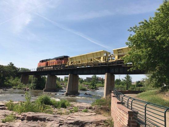 Falls Park: Train passing over