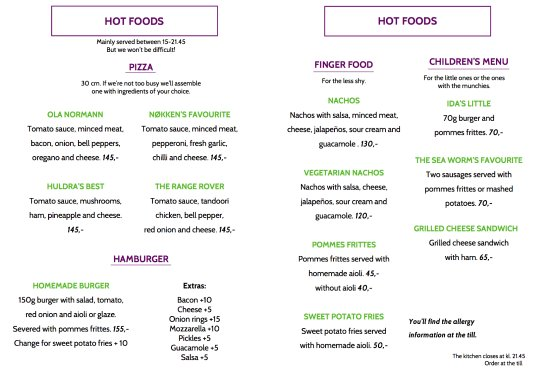 Hornindal, Noruega: Hot foods