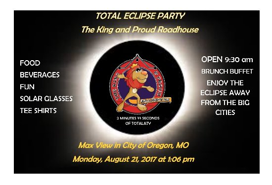 Oregon, MO: WE are almost on direct line for longest total eclipse.