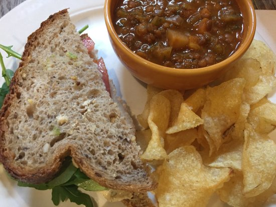 Gryphon Cafe: Lentil soup paired well with hummus sandwich