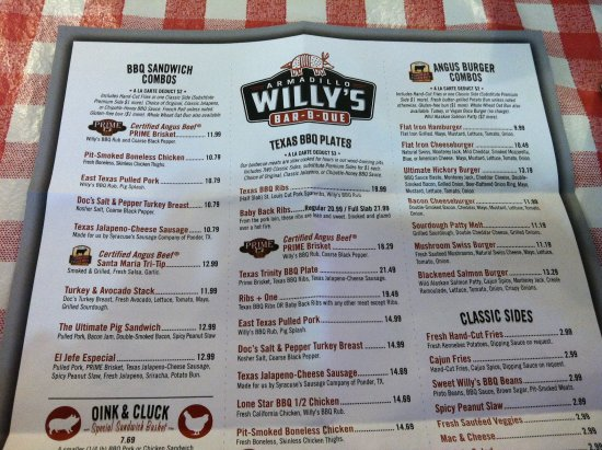 Armadillo Willy's: menu