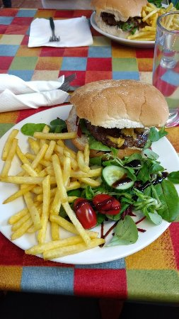 Beaumaris, UK: Burger and Fries from the menu
