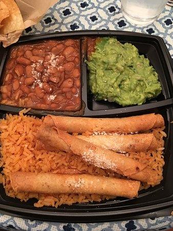 South Pasadena, CA: chicken taquitos with beans, rice, guacamole and chips