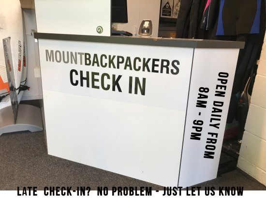 Mount Backpackers: Reception, open 8am - 8pm in winter.  Let us know if you need a late check-in