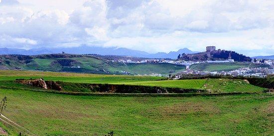 Moron de la Frontera, สเปน: panorámica diurna del paisaje de Morón de la Frontera, oteando en el horizonte su castillo y cas