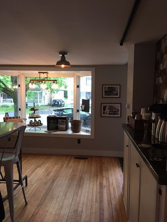 North Country General: bay window and coffee bar in main room