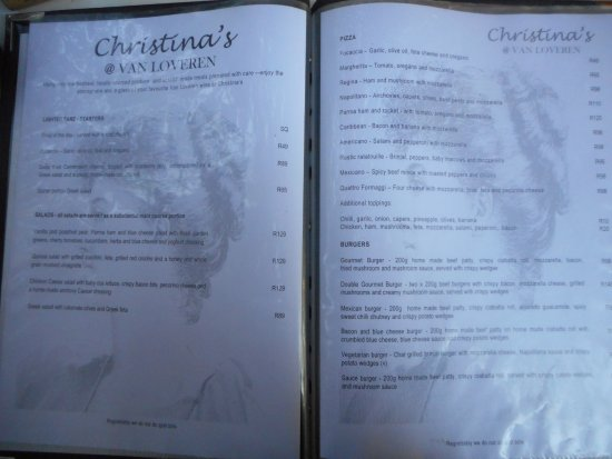 Robertson, South Africa: Menu