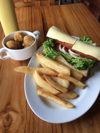 Beef Hot Dog, Steak Fries, Hush Puppies - Picture of