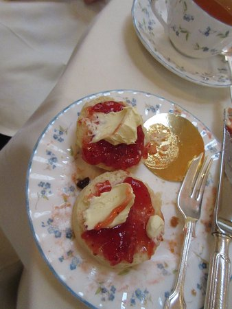 Afternoon Tea: clotted cream, strawberry jam and warm scones; delicious