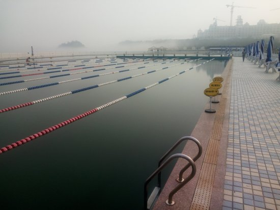 Dalian, China: The pool is so close to the sea, it's like swimming in the sea!