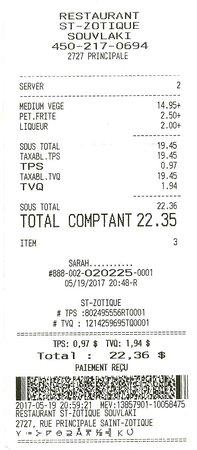 Saint-Zotique, Canada: Servis par Sarah / $22.35
