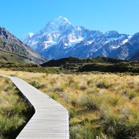 Mt. Cook Village, New Zealand: Mount Cook visible from the Hooker Valley Track