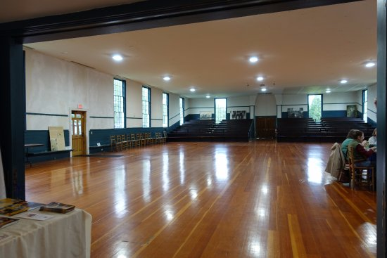 New Lebanon, NY: The Meeting House showing the 'Dance Floor' and bleachers at the far end.