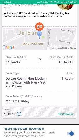Hari Mahal Palace: my booking