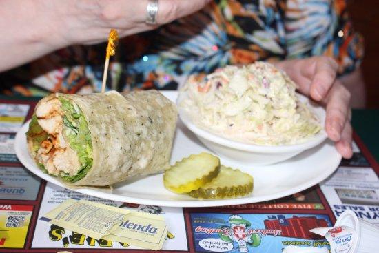 South Deerfield, MA: Cajun wrap and coleslaw.