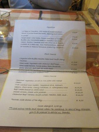 Vagliagli, Italien: The menu.