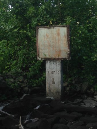 Lelu Island: many signs are rusted and difficult to read.