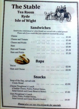 Ryde, Australia: stable menu