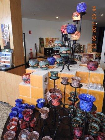 Caravonica, Australia: Tjapukai original artwork and souvenirs on display for sale at the Center