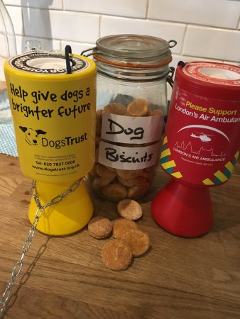 Walton-On-Thames, UK: Our home made dog biscuits are free......But a donation for Dogs Trust or London's Air Ambulance
