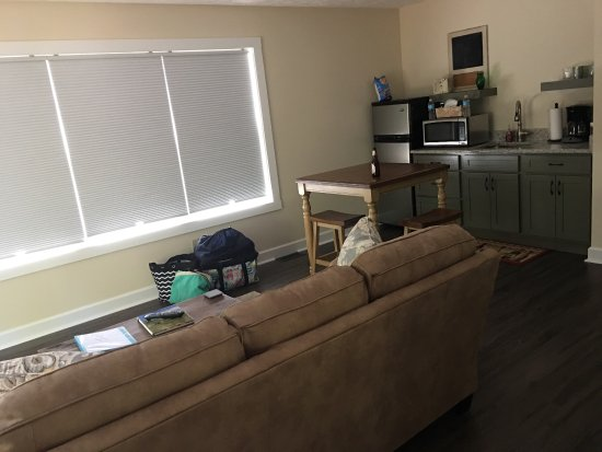 Geneva, Ohio: The Pinot Gris Suite one bedroom, roomy living space, kitchenette (w/ small refrigerator, sink, 
