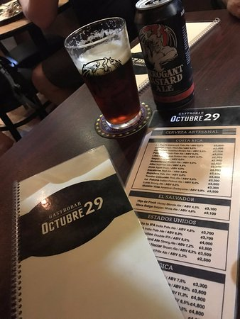 San Ramon, Costa Rica: List of the Beer Menu