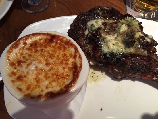 Peabody, MA: 35 oz Tomahawk Ribeye with side of onion soup