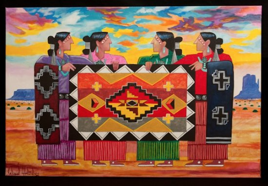 navajo artist leland holiday painting on canvas picture of toh