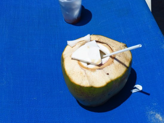 Playa Tortuga, Costa Rica:  A Rum Punch in a fresh Coconut: Tortuga Island.