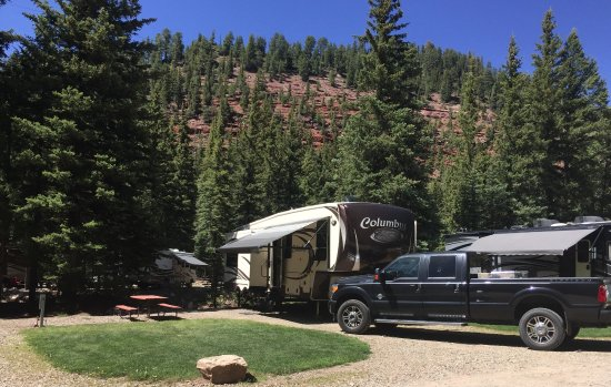Priest Gulch Campground , RV Park, Cabins & Lodge: Site backing up to the Dolores River